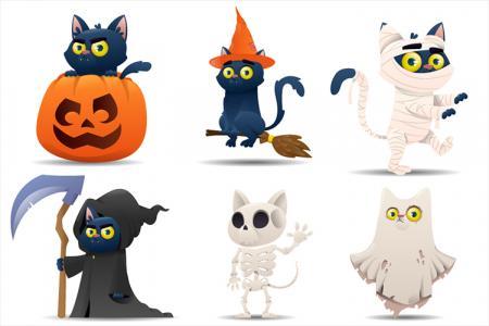 Miễn phí vector con mèo đen Halloween hóa trang