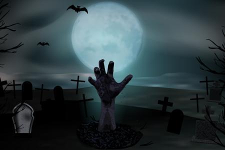 Vector background Halloween kinh dị bên nghĩa địa