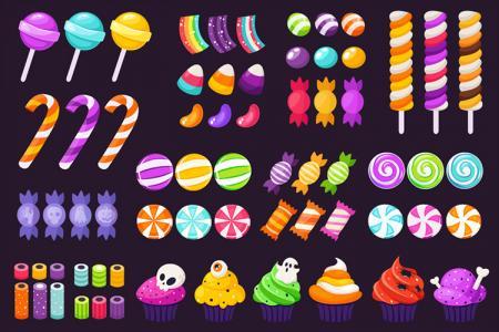 Free Vector icons Halloween ngộ nghĩnh nhiều màu sắc