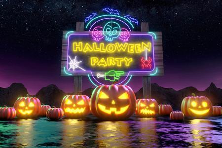 Hình ảnh nền chúc mừng Halloween với đèn neon độc đáo