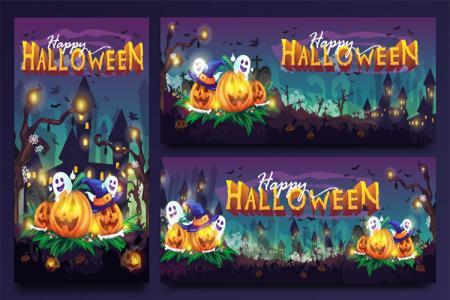Vector banner, poster Halloween đẹp miễn phí