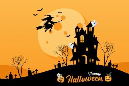 Free file vector AI background Halloween ngôi nhà ma quái