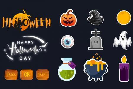 Tài nguyên icon và chữ trang trí Halloween