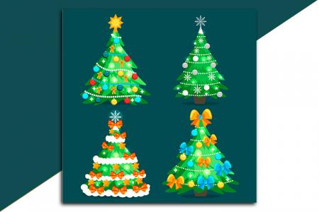Mẫu vector cây thông Noel trang trí lung linh