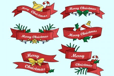 Vector ruy băng chữ Merry Christmas trang trí giáng sinh đẹp