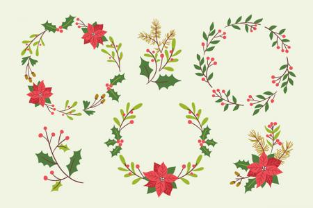 Tải miễn phí vector vòng hoa trang trí giáng sinh đẹp