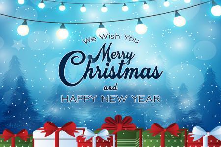 Free PSD giáng sinh và năm mới nền xanh đẹp lung linh
