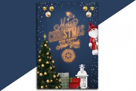 Tải PSD Poster mẫu thiệp giáng sinh năm mới đẹp miễn phí