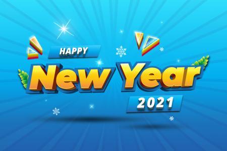 Tải vector background nền năm mới 2021 phong cách 3D