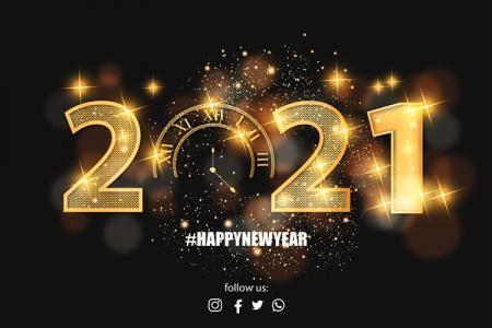 Vector background nền chúc mừng năm mới 2021 với bộ số vàng