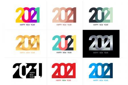 Vector bộ số 2021 đa dạng chúc mừng năm mới