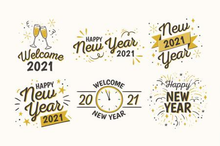 Vector bộ chữ năm mới 2021- Vector chữ Happy New Year 2021