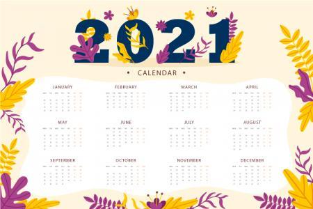 Tải vector bộ số lịch năm mới 2021 treo tường đẹp ấn tượng