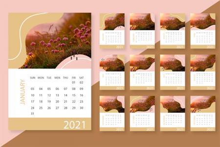 Vector thiết kế lịch 2021 - Vector bộ số lịch 2021 với 12 tháng
