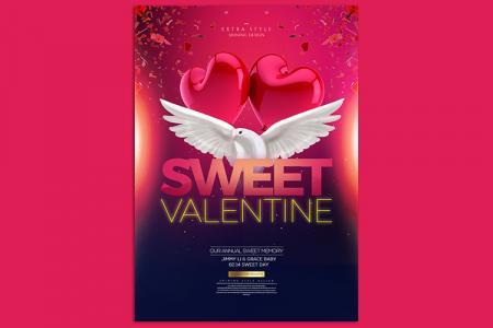 Tải PSD banner background Valentine đẹp miễn phí