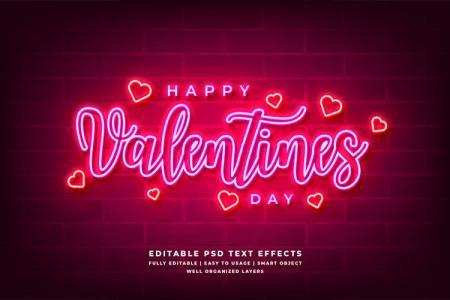 Miễn phí PSD background Valentine Neon 3D độc đáo