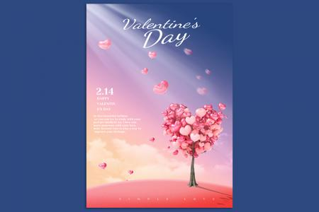 Tải PSD Poster, background thiệp ngày Valentine ấn tượng