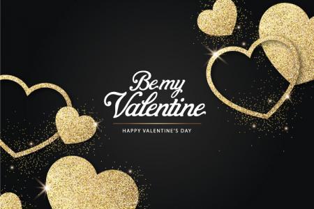 Share file vector background Valentine trái tim nhũ vàng lấp lánh