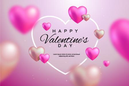 Vector AI trái tim Valentine màu hồng lãng mạn