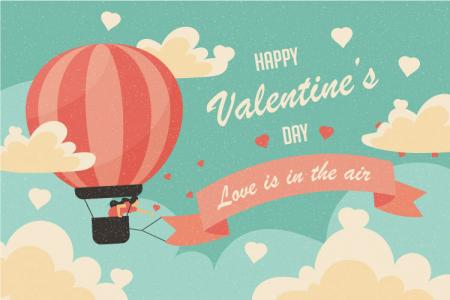 Tải vector banner Valentine phong cách cổ điển