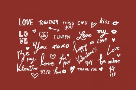 Free file vector AI chữ Valentine, chữ Love, tình yêu đẹp lãng mạn