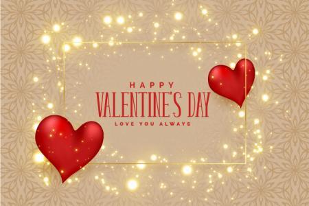 Download vector trái tim Valentine lấp lánh