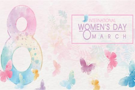 Free vetor background ngày Quốc tế Phụ nữ 8/3 màu nước