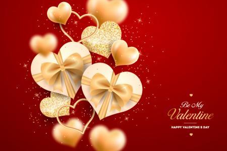 Vector Valentine hộp quà trái tim tình yêu màu vàng lãng mạn