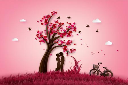 Chia sẻ file vector AI nền cây tình yêu màu hồng lãng mạn