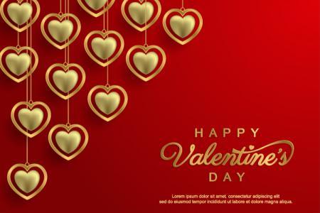 Miễn phí vector trái tim vàng Valentine lãng mạn