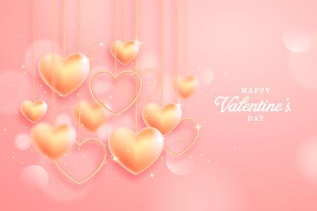 Tải miễn phí vector background Valentine trái tim vàng lấp lánh