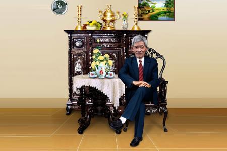 Phông mừng thọ ông ngồi bàn trà PSD