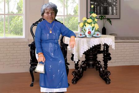Miễn phí PSD ảnh bà ngồi bàn trà cho phục chế ảnh